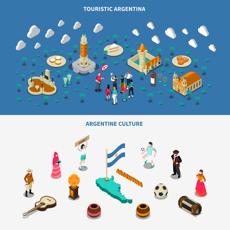 obelisk: Argentina culture and attractions for travelers 2 isometric banners set with historic obelisk monument isolated vector illustration Illustration