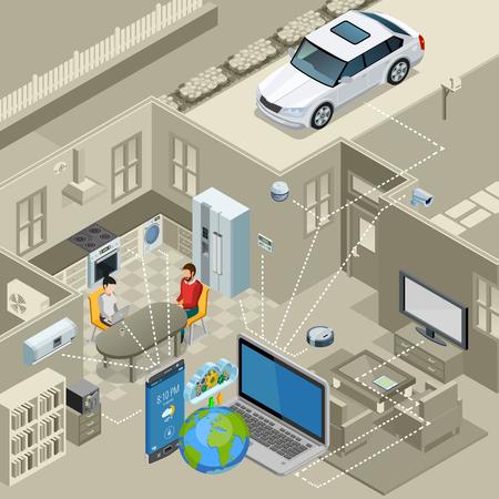 Internet de choses, intérieur urbain intelligent, intérieur, concept, isométrique, affiche, télécommandé, appareils, résumé, vecteur, illustration