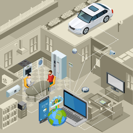 remote controlled: Internet of things smart urban home interior concept isometric poster with remote controlled appliances abstract vector illustration