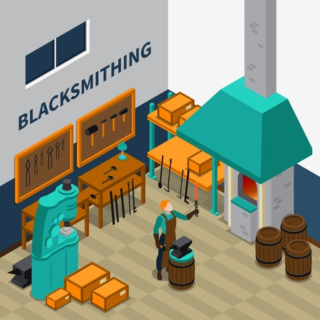 forging: Blacksmith forging wrought iron on anvil isometric poster with smith shop tools materials and machinery vector illustration Illustration