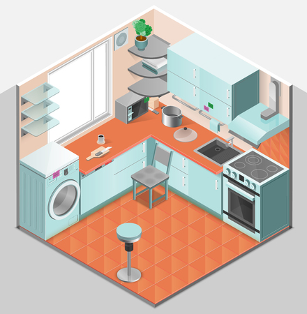 kitchen illustration: Kitchen interior isometric template with washer oven chair shelves microwave sink ventilation and appliances isolated vector illustration
