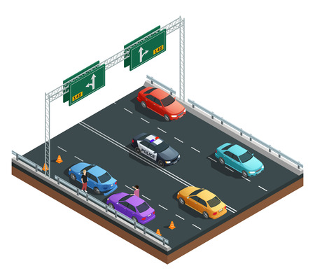 Auto accident involving two cars isometric composition on white background vector illustration