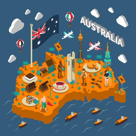 Australian touristic isometric map with national cuisine landmarks wildlife popular sport and surfers symbols poster vector illustration