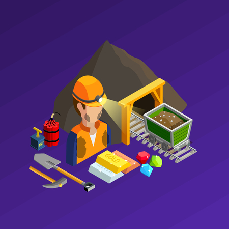 pit: Mining work isometric concept with equipment dynamite and products vector illustration