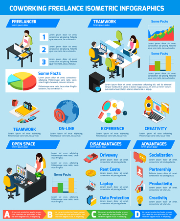 time specification: Freelance people infographic set with comfortable workplace and coworking symbols isometric vector illustration Illustration