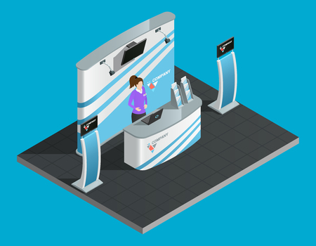Exibition stand isometric with woman promoter vector illustration