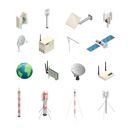 Isometric icons set of wireless communication equipments like towers satellite antennas router and other isolated vector illustration