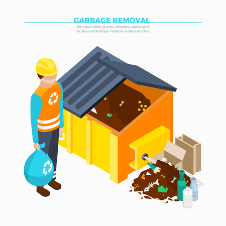 removal: Garbage removal isometric poster with yellow waste container collector and heap of rubbish vector illustration