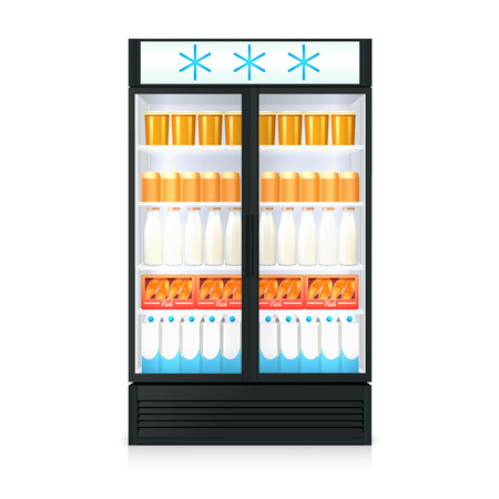 freezer: Freezer realistic template with food drink bottles cartons and glass door isolated vector illustration