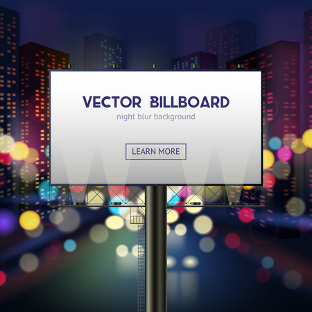 billboard advertising: Advertising billboard template with blank space for your text on night city blurred background vector illustration