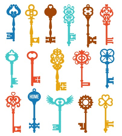 keys isolated: Colorful keys set of different shape ornament and secrecy in vintage style isolated vector illustration