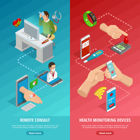 Digital health isometric vertical banners with different modern diagnostic gadgets and remote medical consultation vector illustration Illustration