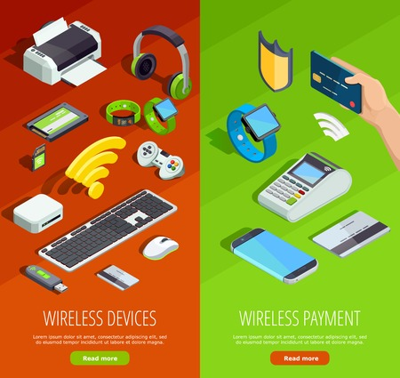 Modern wireless technology internet connection safety and electronic devices 2 vertical isometric banners set isolated vector illustration Illustration