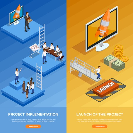 Business strategy isometric vertical banners with stages of planning and goal achievement vector illustration Illustration