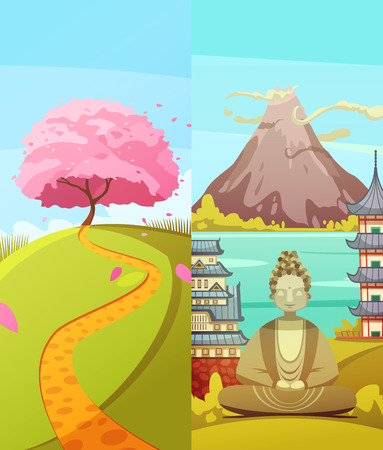 Japanese culture 2 vertical retro cartoon banners set with cherry blossom fuji mountain and buddha isolated vector illustration Illustration