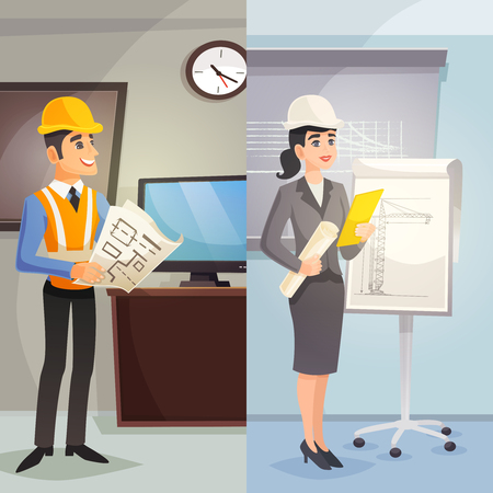 civil construction: Engineer cartoon vertical banners with male and female workers at office in flat style vector illustration