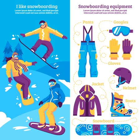sporting equipment: Snowboarding vertical banners with snowboarders sliding downhill and set of sporting equipment flat vector illustration Illustration
