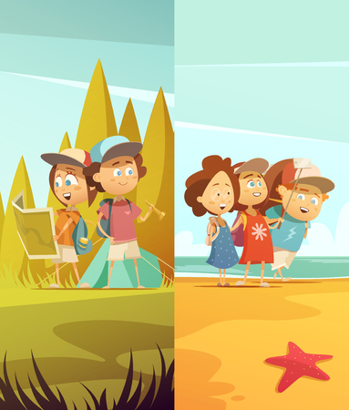 Camping kids vertical banners set with forest and beach symbols cartoon isolated vector illustration