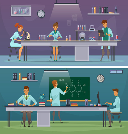 biological: Scientists and laboratory assistants working in lab and office 2 horizontal retro cartoon banners isolated vector illustration
