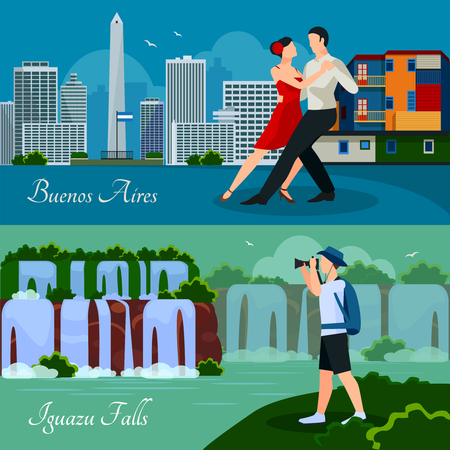 Argentina culture landmarks and nature 2 flat horizontal banners with waterfalls cityscape and dancing couple isolated vector illustration