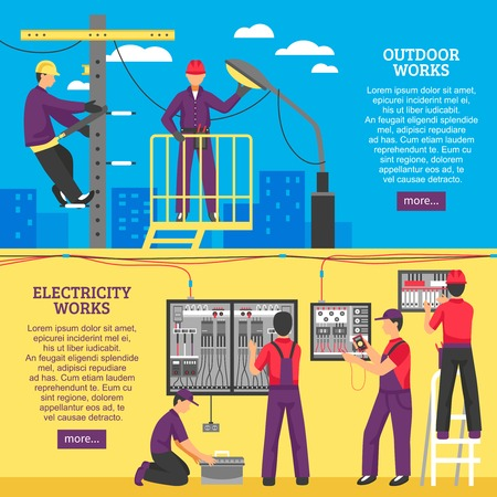 Electrical works horizontal banners with people working on power line support and pole flat vector illustration Vectores