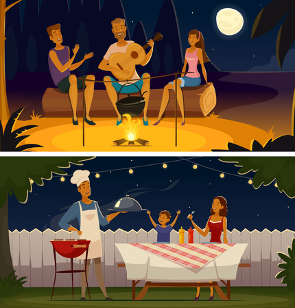 night lights: Summer night barbecue party 2 retro cartoon banners with grill festive illumination lights and moon isolates vector illustration Illustration