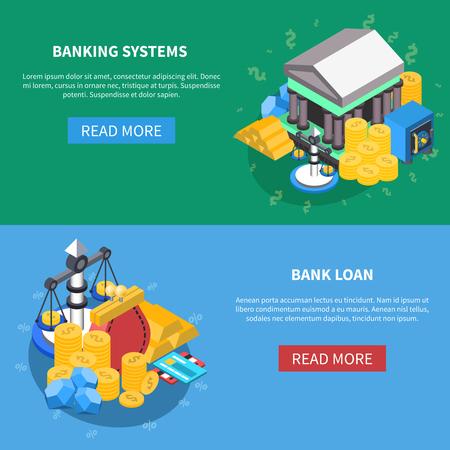Banca de los sistemas y el préstamo financiero iconos isométricos banners de la página web con leer más diagramas de botón dinero escalas monedas símbolos del banco ilustración vectorial