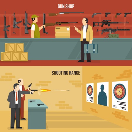 shooting: Two horizontal flat weapon banners with men choosing a gun and shooting at charges isolated vector illustration