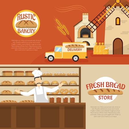 bakery store: Flat design rustic bakery and fresh bread store horizontal banners isolated vector illustration