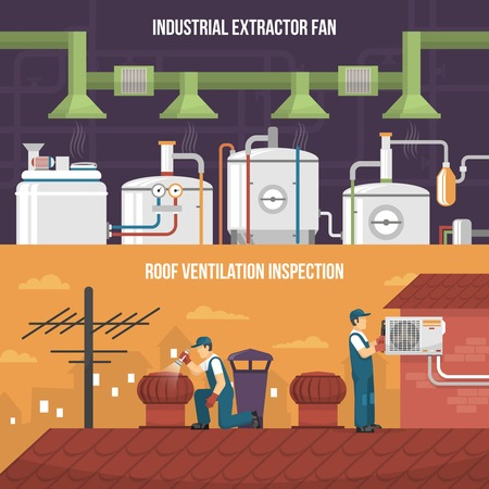 Conditioning and heating horizontal banners presenting ventilation inspection working on roof and industrial extractor fan flat isolated vector illustration Illustration
