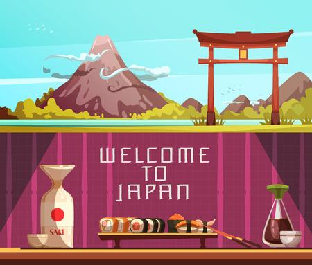 sake: Japan for travelers 2 retro cartoon horizontal banners with pagoda fuji mountain and sushi isolated vector illustration