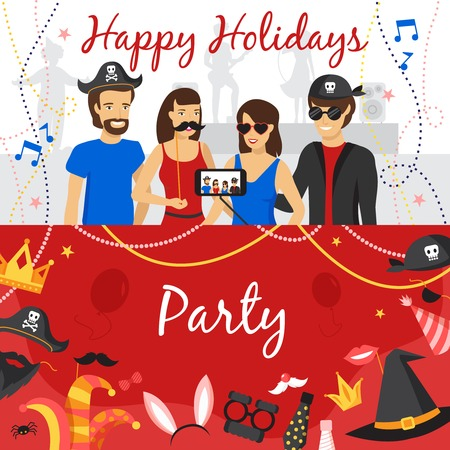 photo people: Photo booth party horizontal banners set with people flat isolated vector illustration