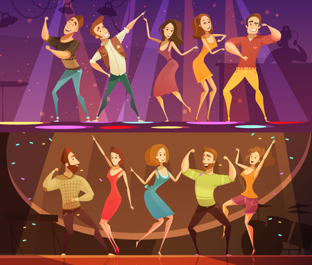 NIght club disco party free motion modern dancing 2 horizontal cartoon festive banners set isolated vector illustration