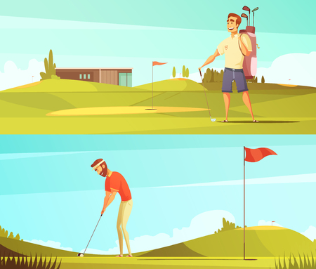 Golf players at course 2 horizontal retro cartoon banners set with red pin flag isolated vector illustration Illustration