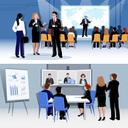 People meeting concept with conference discussion brainstorming negotiation in flat style vector illustration