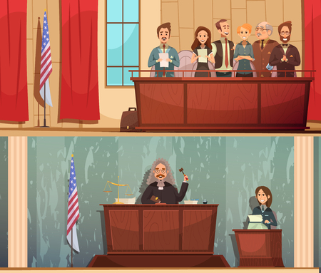 testify: American law and justice 2 vintage cartoon horizontal banners with pronouncing sentence in courtroom isolated vector illustration