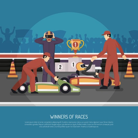 karting: Karting motor race winner and another driver after tournament flat vector illustration