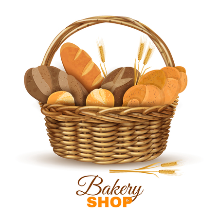 baskets: Bakery shop display traditional willow wicker basket with handle full with fresh bred realistic poster vector illustration