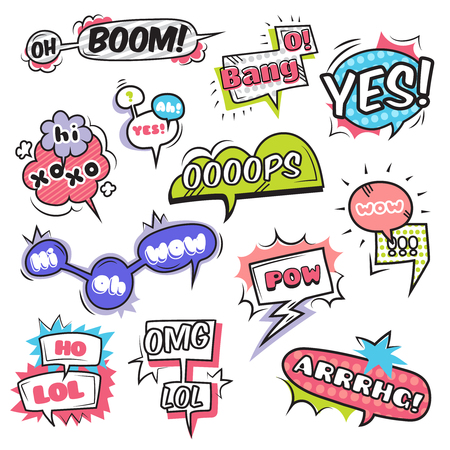 cartoon bubble: Comic speech bubbles set with emotions symbols flat isolated vector illustration.