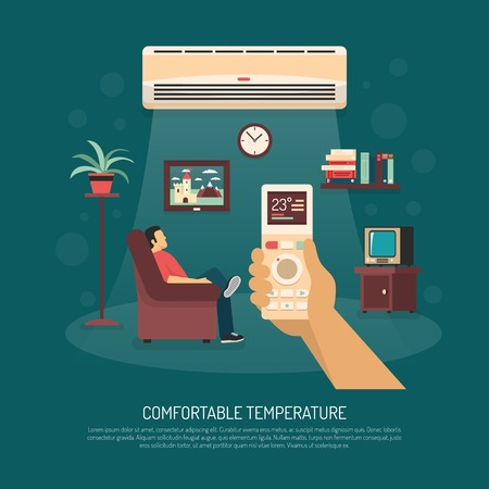 home equipment: Home ventilation conditioning and heating equipment providing comfortable temperature flat vector illustration Illustration