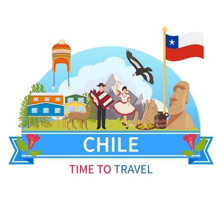 Chile flat composition with man and woman in ethnic clothes flora and fauna of national Park and historical landmarks icons vector illustration
