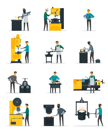 casting: Blacksmith at work flat icons set with metal melting casting forging and hammering on anvil isolated vector illustration