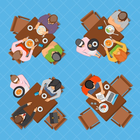 discourse: Professions top view design composition with business people working eating and talking in restaurant or cafe flat vector illustration