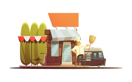 Local store building with owner trees and van cartoon vector illustration