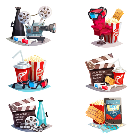entertainment: Set of 3d cartoon cinema design concepts with elements of cinematography equipment and viewers accessories  isolated vector illustration
