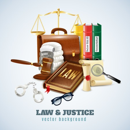 legal law: Law and justice legal system objects and symbols composition background poster with balance and judge wig vector illustration