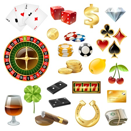 roulette online: Dice poker chips casino equipment and gambling supply with glass wine sigaar glossy icons collection isolated vector illustration