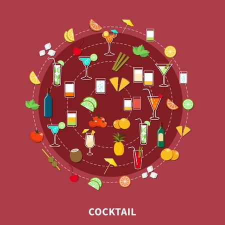 rum: Cocktail icon set of alcoholic drinks and their ingredients in flat style vector illustration