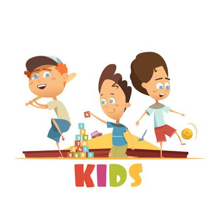 Playing children concept with baseball bricks and football symbols cartoon vector illustration