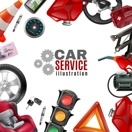 tire cover: Car service template with auto maintenance tools and accessories on white background vector illustration